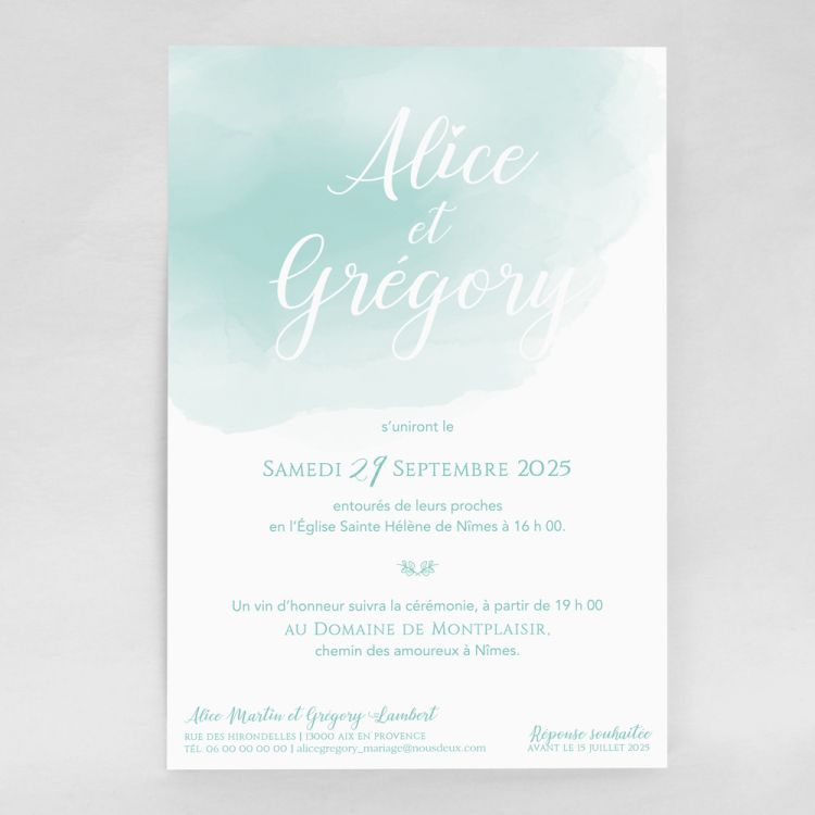 Faire Part Mariage Aquarelle Aquablue Grand Format Faire Part