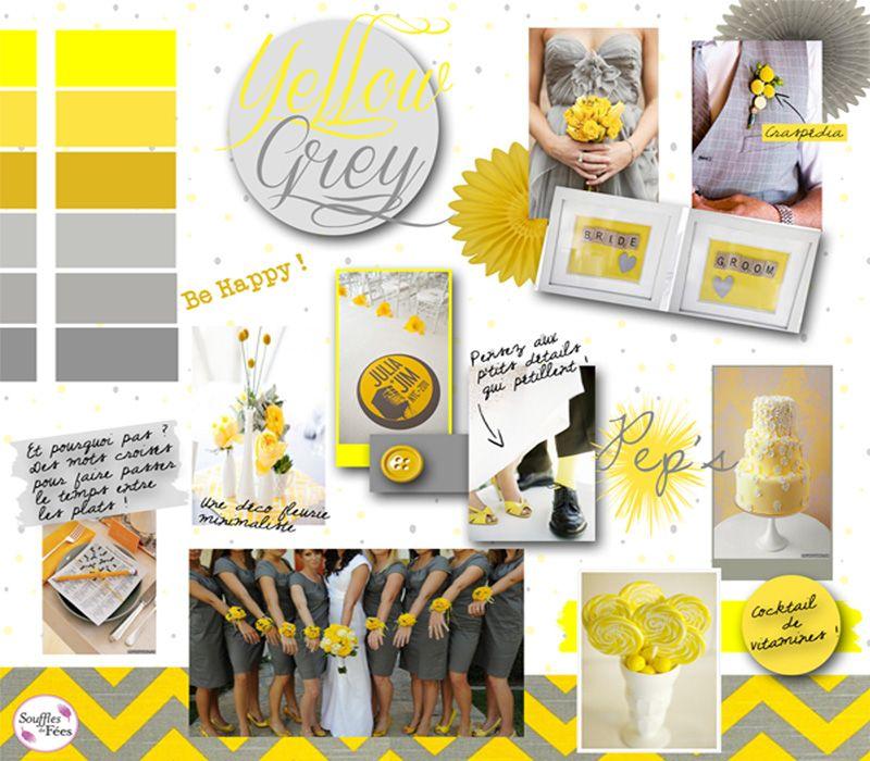 Mariage jaune et gris jolies choses pinterest for Accessoire deco jaune
