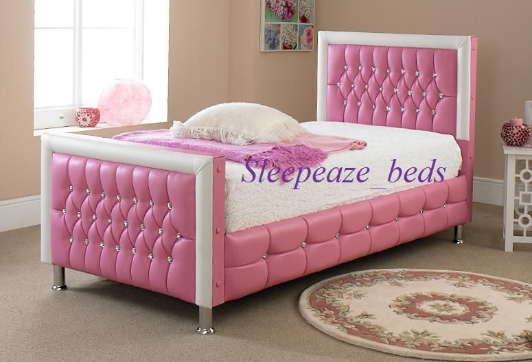 Pink Leather Bed For Girls Bed 3ft Single With Memory Foam