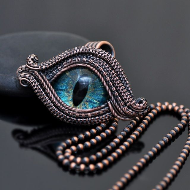 Turquoise Dragon Eye Wire Wrap Necklace Dragon Eye Eye Jewelry