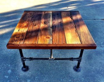 Square Industrial Coffee Table made with by ReclaimedWoodGoods