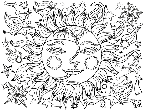 Sunmoon Coloring Pages For Teenagers Moon Coloring Pages Sun Coloring Pages Mandala Coloring Pages