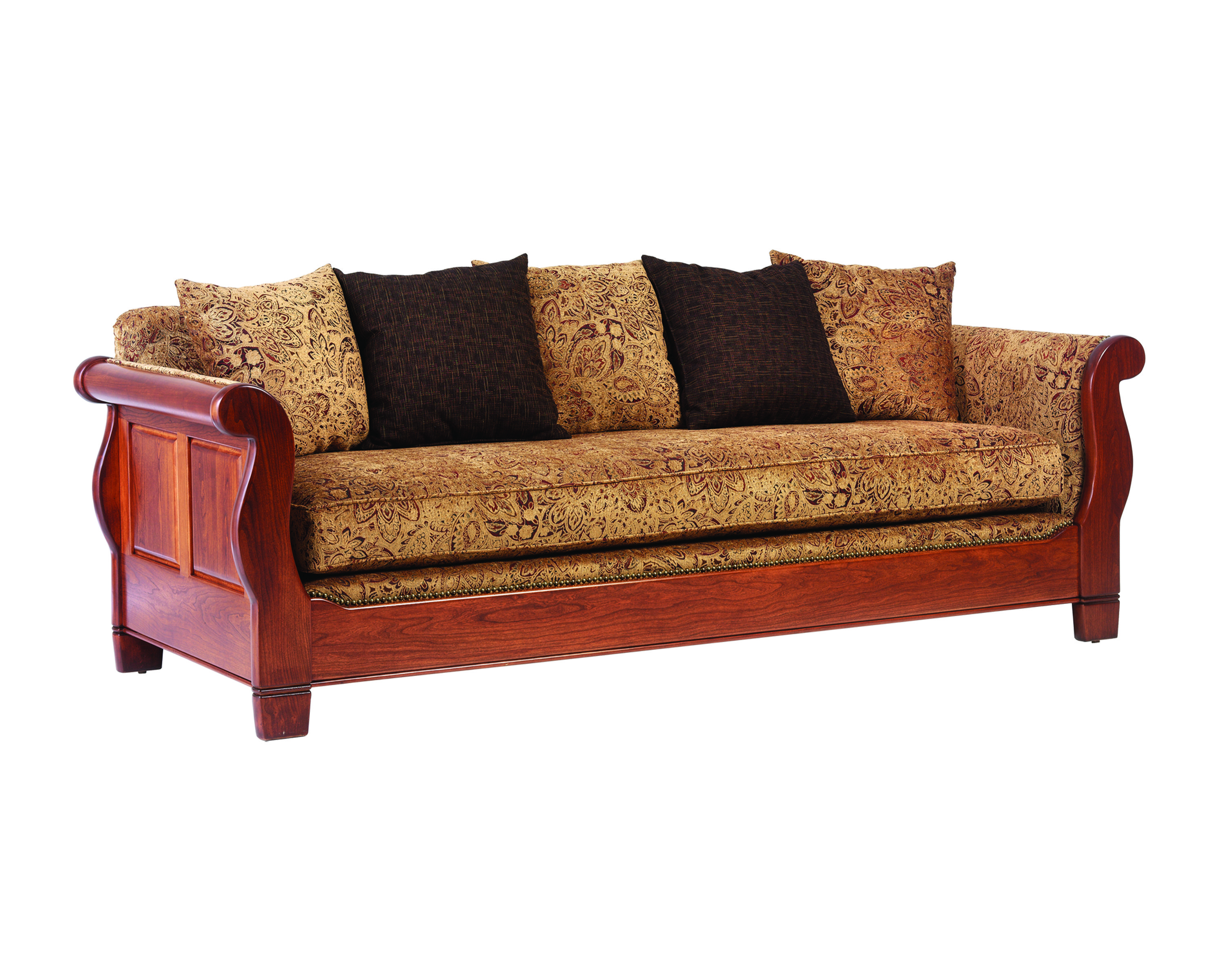Solid Living Room Furniture Sleigh Sofa Solid Wood Amish Crafted Living Room Pinterest