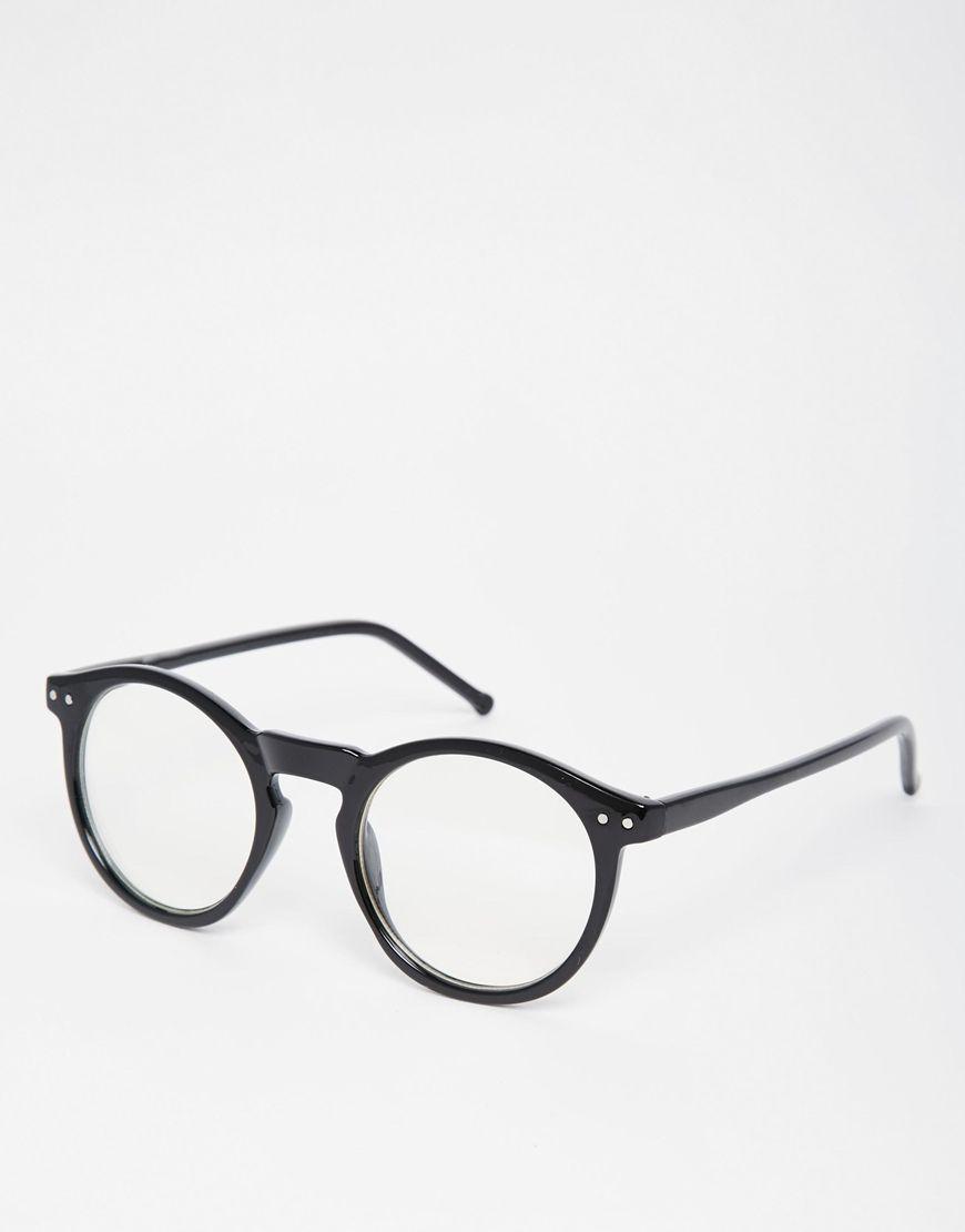 Bild 1 von ASOS – Schwarze Brille mit runden transparenten Gläsern ...