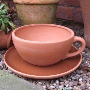 Terracotta Tea Cup And Saucer Planter Large Cup Dia 17 5cm Amazon