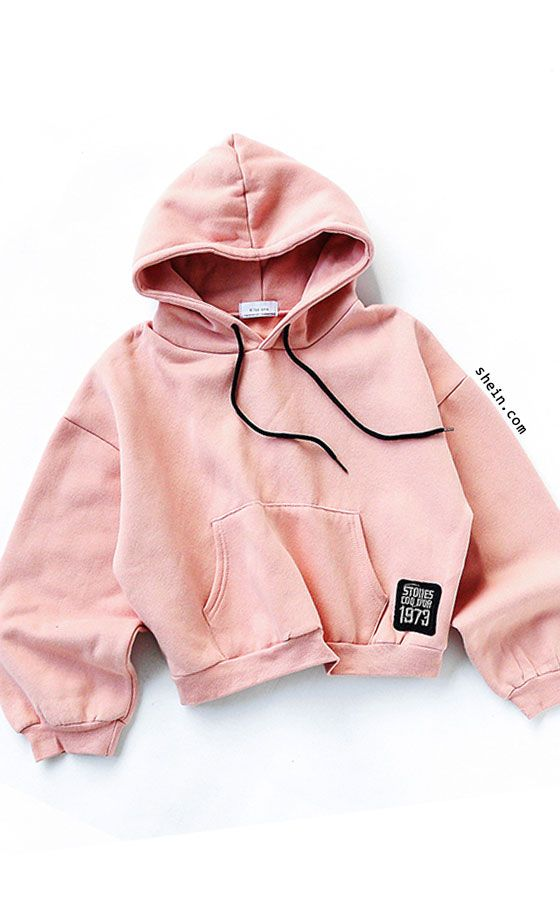 Pink Drop Shoulder Embroidered Patch Drawstring Hooded Sweatshirt