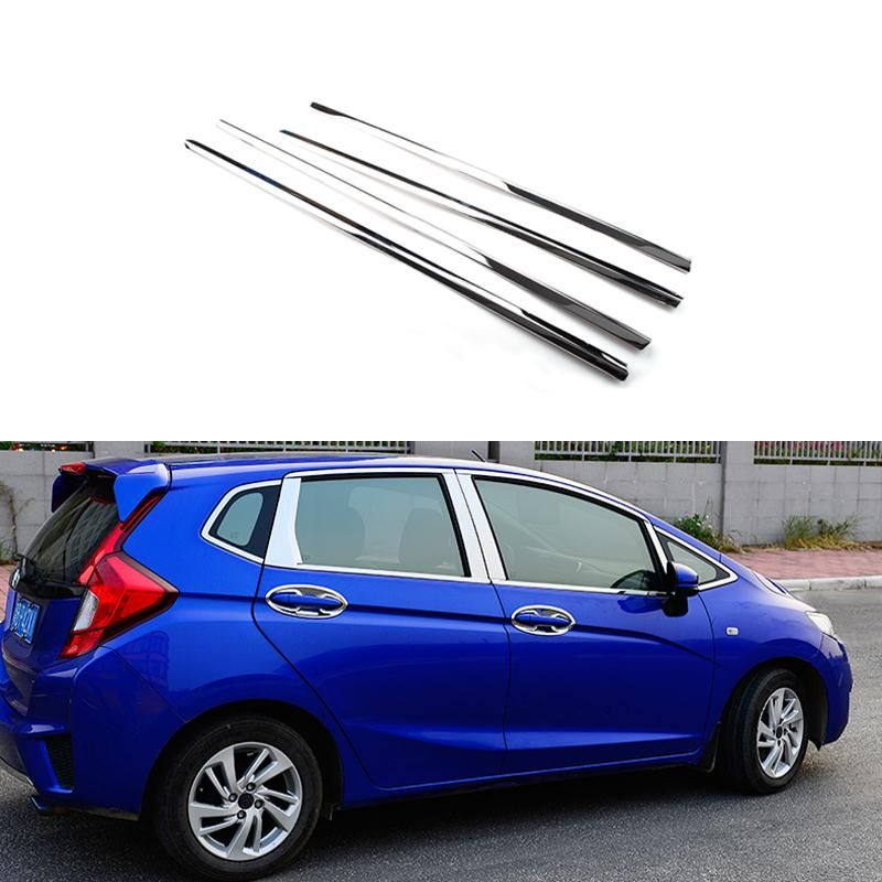 Nice Full Window Trim Decoration Strips Stainless Steel Car Styling Accessories  For Honda Fit Jazz 2013 2014 2015 OEM 14 20