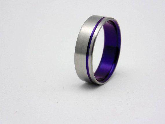 Titanium Ring With Plum Crazy Purple Pinstripe And Lining