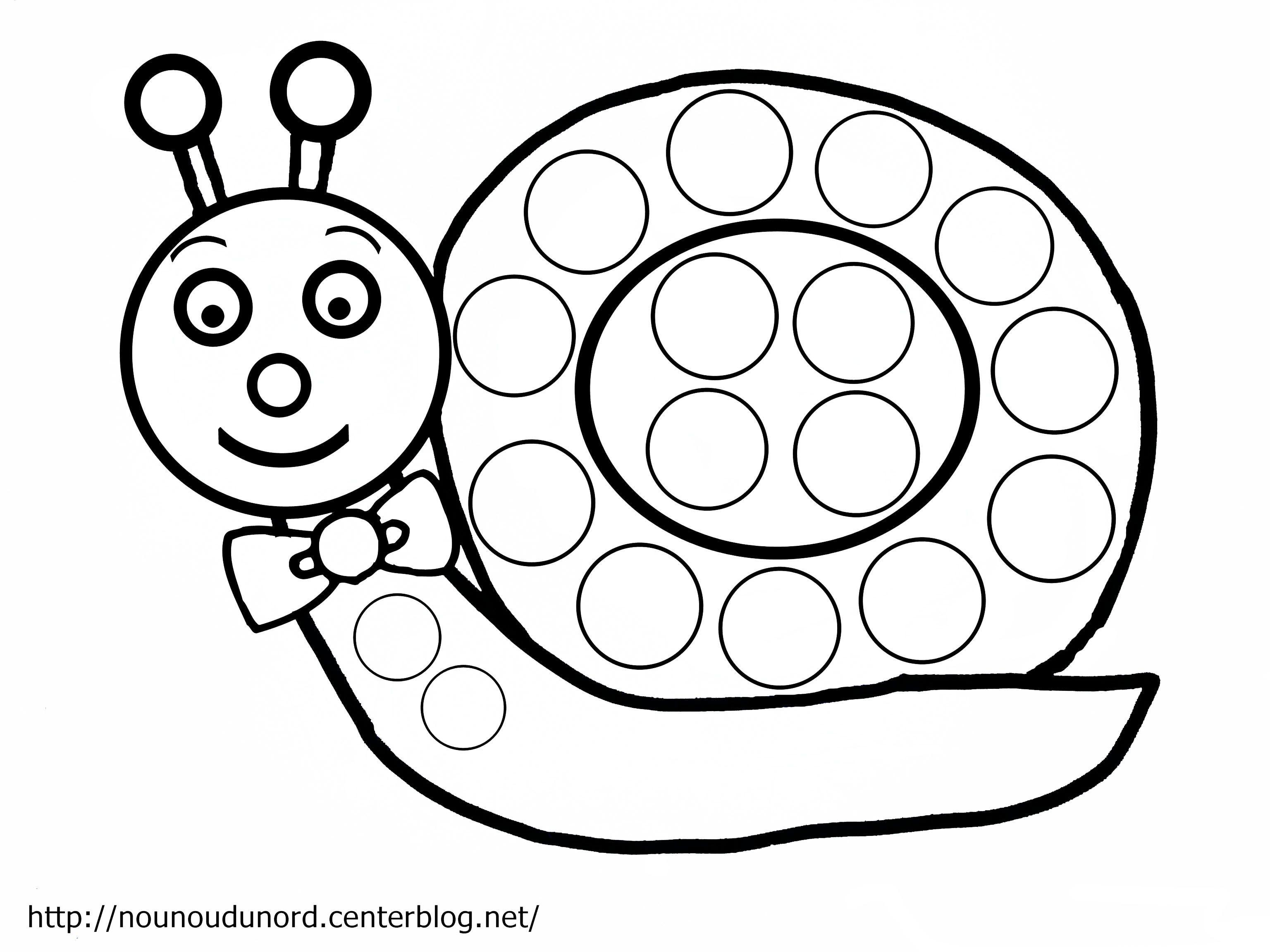 Coloriage escargot  gommettes dessiné par nounoudunord Imprimer le coloriage grand format en fichier PDF cliquez ici enregistrez l image sur votre pc