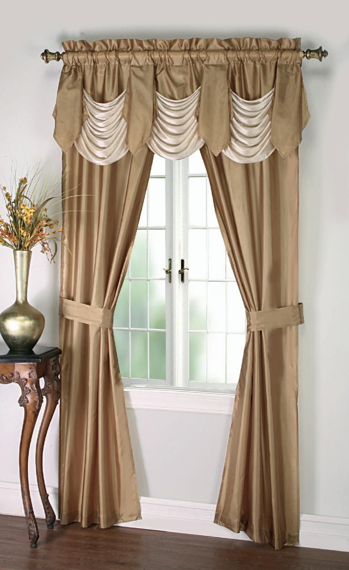 Cannon 5 Piece Curtain Panels Valance Tiebacks Bellany For