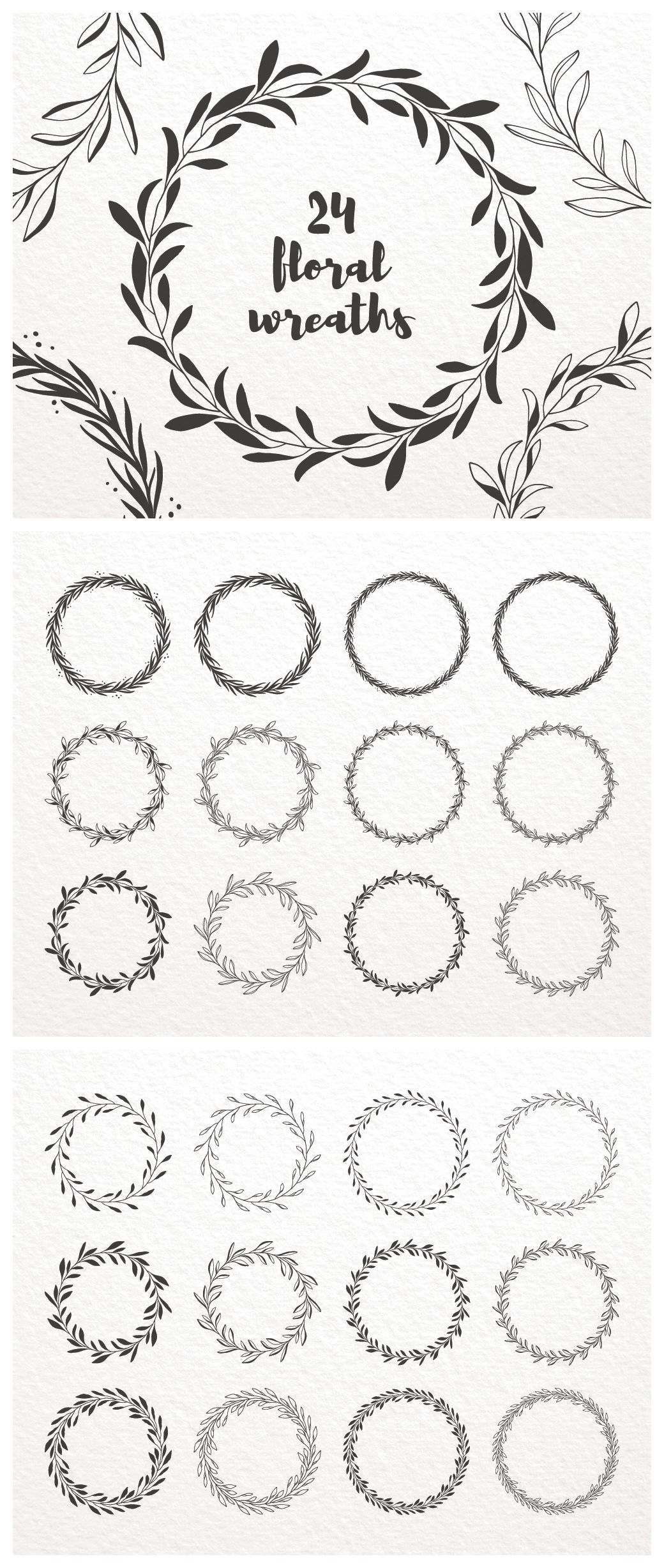 Floral Wreath Clip Art Hand Drawn Decorative Round Frames Etsy Flower Drawing Design Flower Wreath Illustration Flower Drawing