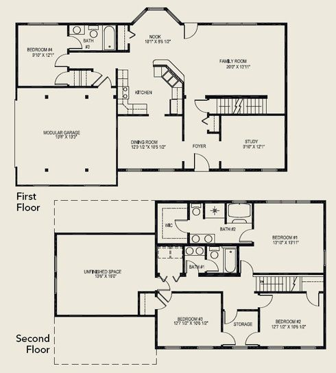 Floor Plan With Unfinished Space As A Game Room And A Finished Basement Basement Floor Plans Floor Plans House Plans