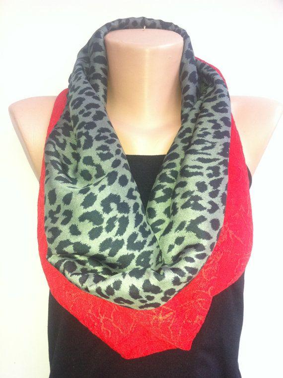 Black grey leopard Infinity Scarf  Women's Scarves by ScarfAngel, $21.00