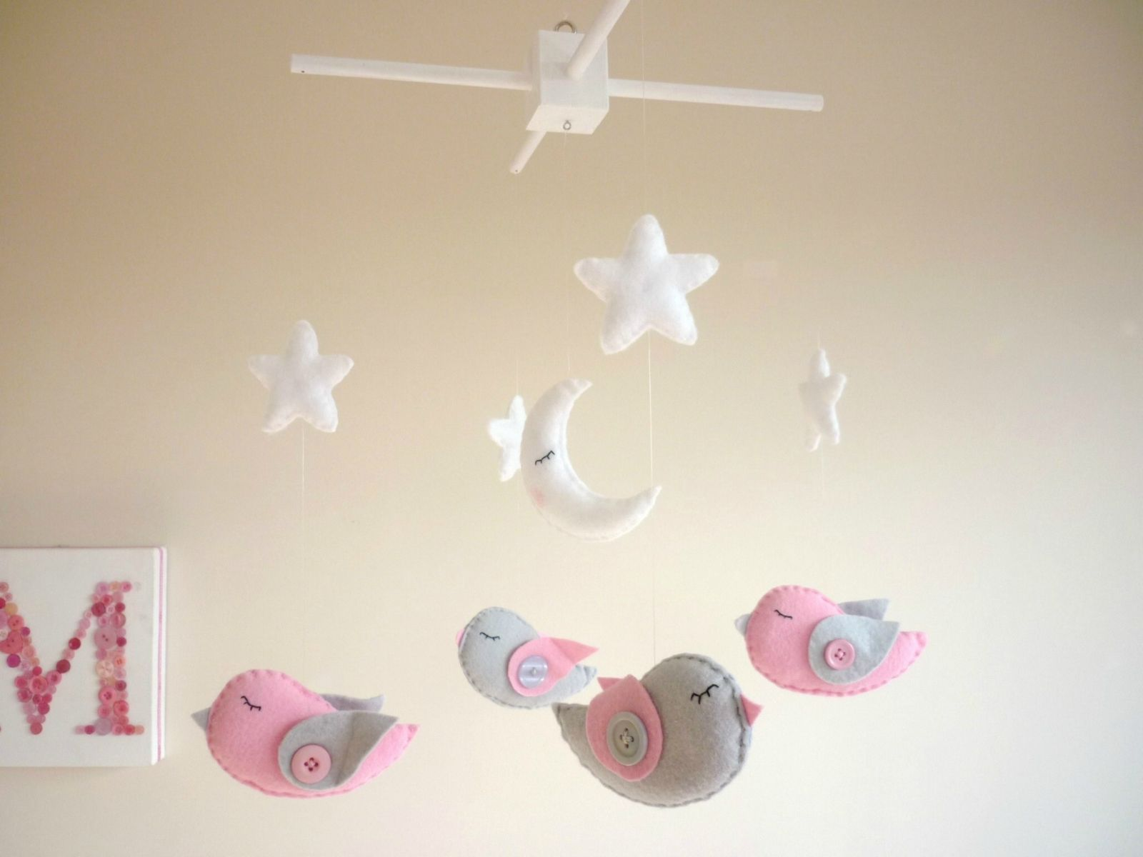 dreamtime baby birds  pink and grey baby mobile  cot mobile  - dreamtime baby birds  pink and grey baby mobile  cot mobile