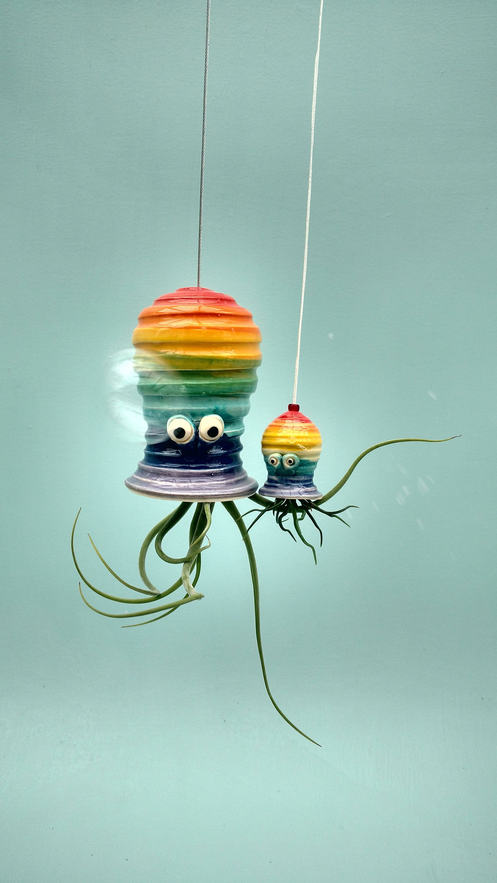 A rainbow mommy and me octopus plant hanger gift for mom