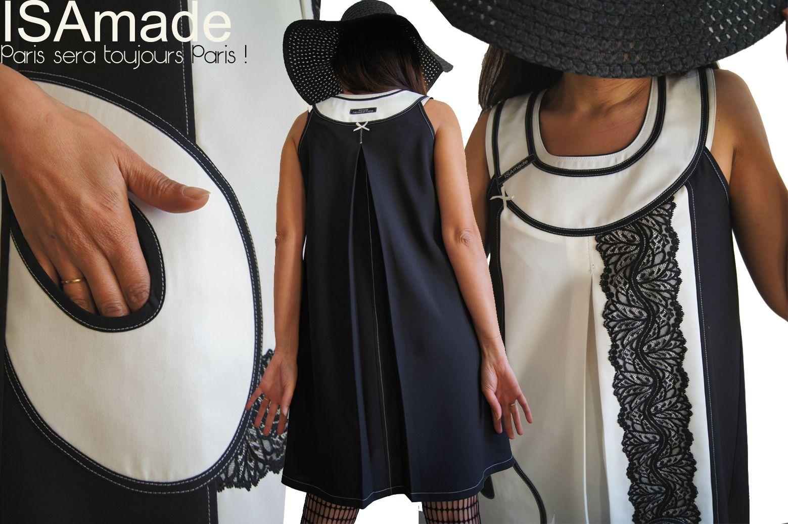 946fcf02d4a Robe trapèze Chasuble Noire   Blanche Graphique Couture Tour Eiffel  (tendance Mode Printemps 2014) dentelle noire... Hommage à Paris capitale  de la Mode