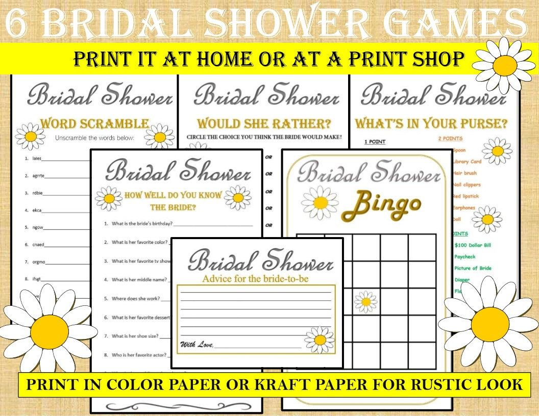 Printable Bridal Shower Game Bundle Daisy 6 Games Daisy
