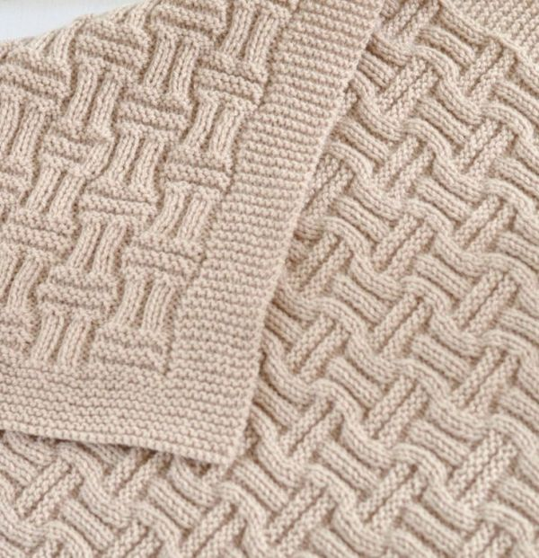 Knitting Pattern Easy Double Basketweave Baby Blanket - Easy blanket ...