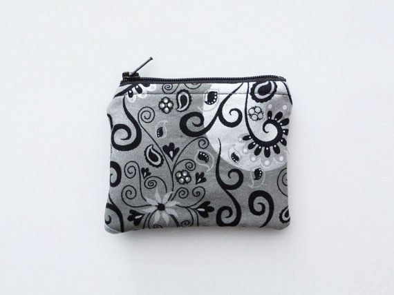 Small Coin Purse Black and Silver Fabric by 9thCycleCraftworks