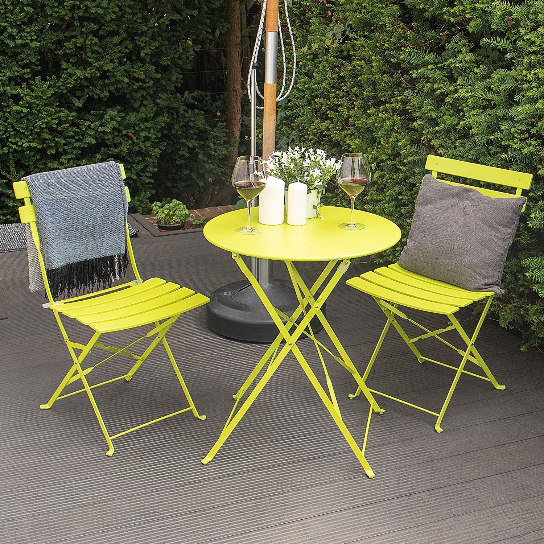 Trendige Farbenfrohe Bistro Essgruppe Limettengrun Klapptisch 2 Klappstuhle Gartenmobel Sets Gartenmobel Stuhle