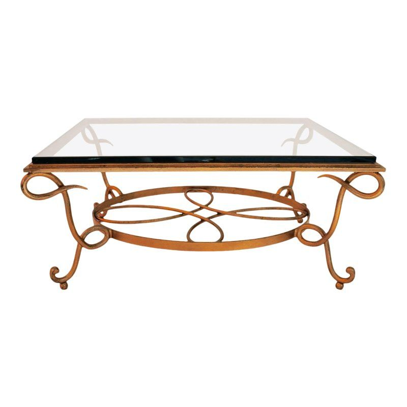 French 1940s Wrought Iron Coffee Table In The Style Of Rene Drouet