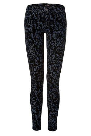 Ahhhh.... love love the fit!  J BRAND JEANS  Black Brocade Flocking Jeans