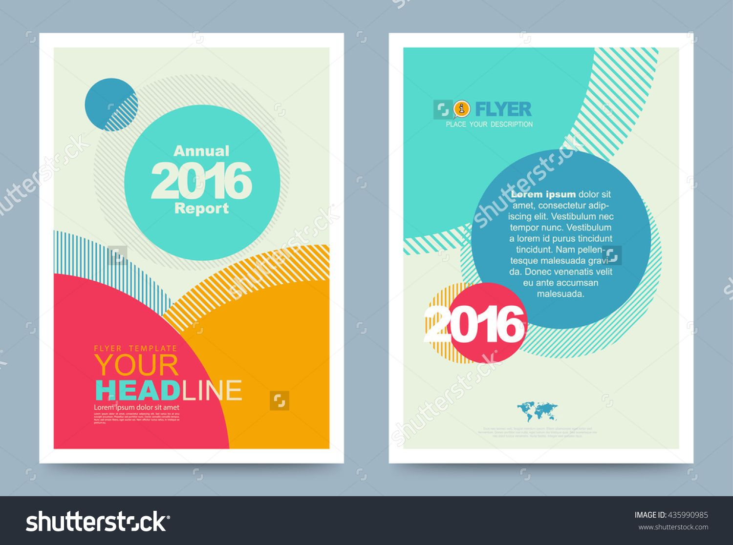 Colourful annual report brochure flyer design template with circles ...