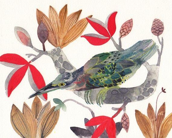 """unitedthread, Etsy - """"Green Heron & Magnolias"""""""