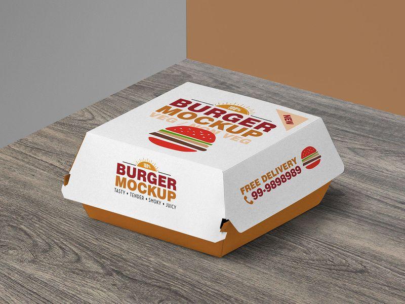 Download Free Burger Box Packaging Mockup Psd Burger Box Burger Packaging Packaging Mockup