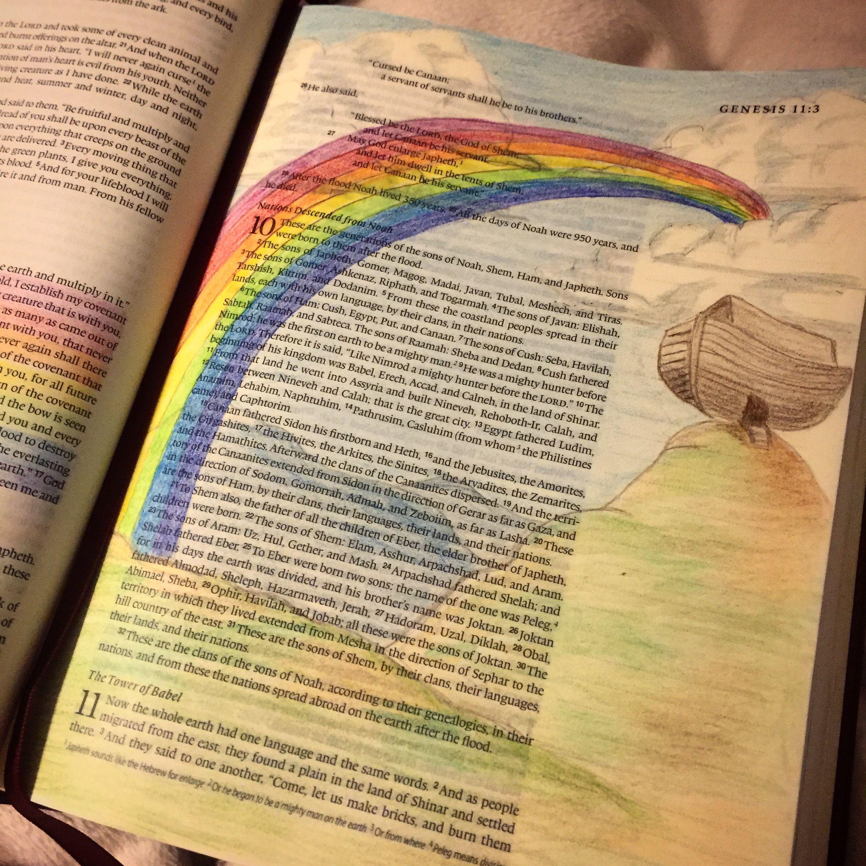 Bible Journaling Genesis Gods Promise Noahs Ark Rainbow