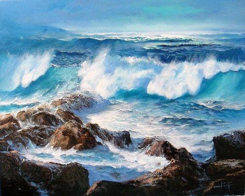 Pinturas marinas al oleo magnificas cuadros murales for Cuadros de marinas