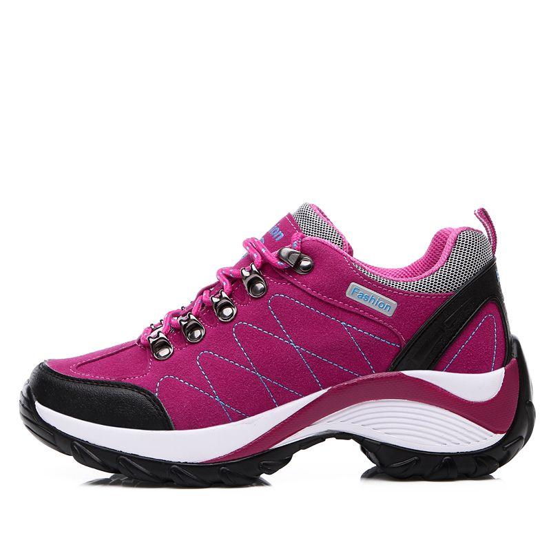 2016 방수 하이킹 신발 여성 레드/블랙 높이 증가 등산 신발 여성 가죽 야외 하이킹 부츠