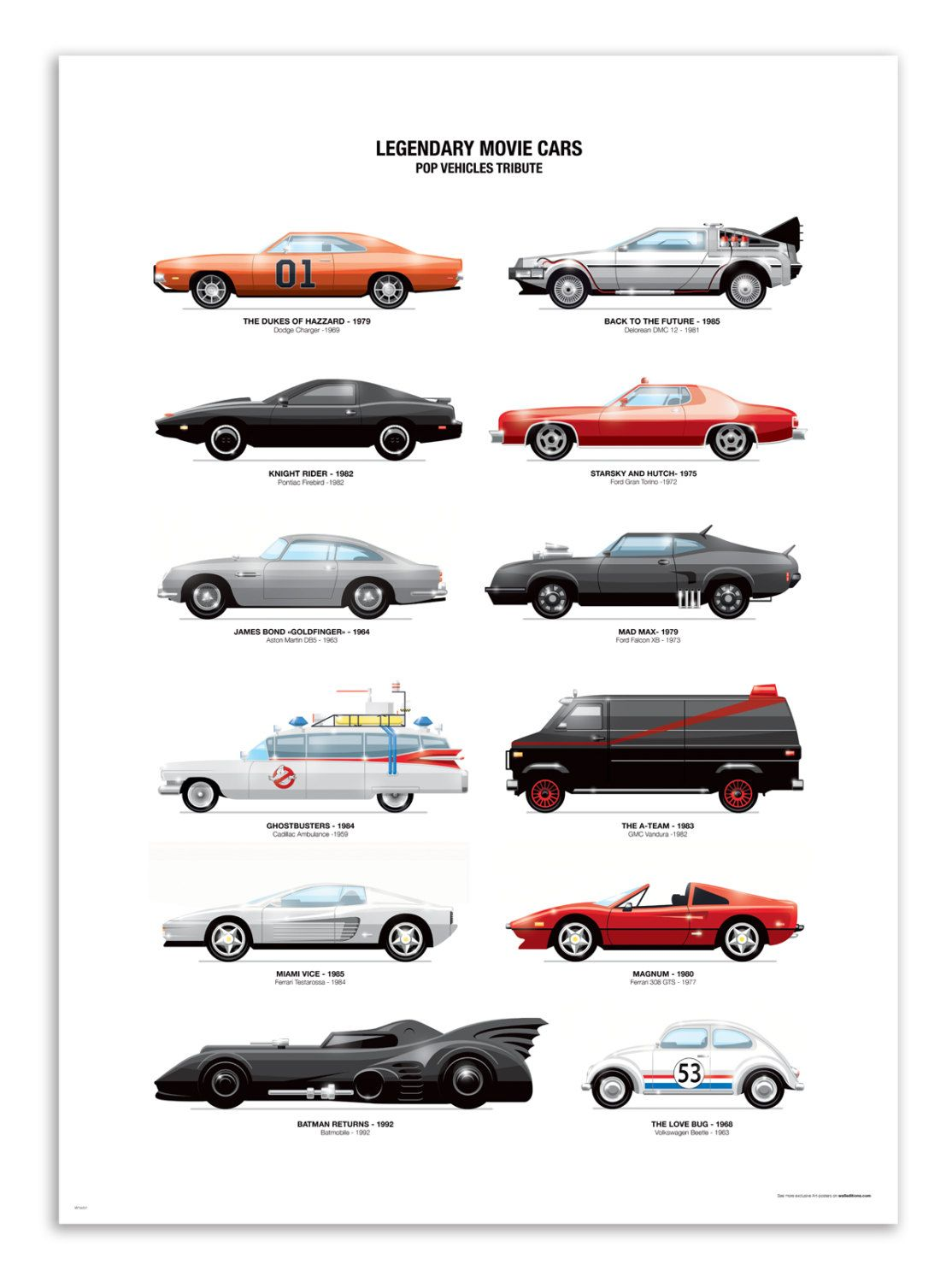 art poster 50 x 70 cm legandary movie cars cars and. Black Bedroom Furniture Sets. Home Design Ideas