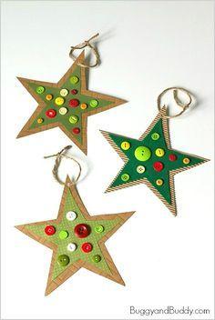 Homemade Button Star Christmas Ornament Craft for Kids #preschoolers