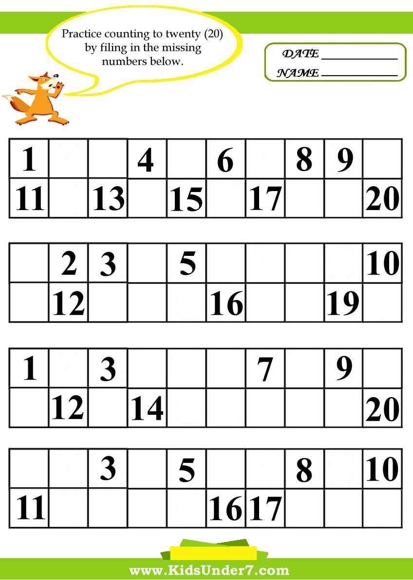 Kindergarten Missing Number Worksheet 1 20 Missing