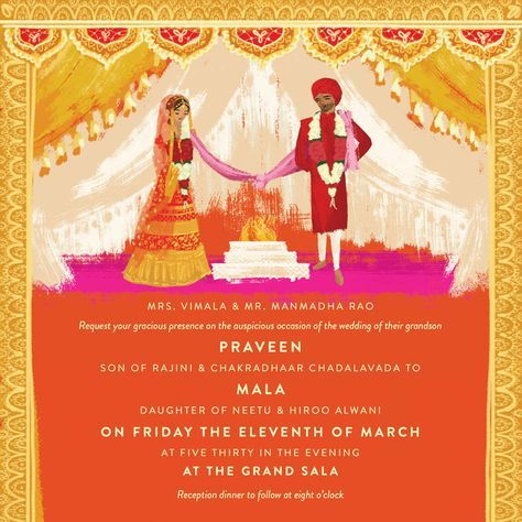 indian wedding invitation, thailand wedding illustrated by Laura - fresh wedding invitation card on whatsapp