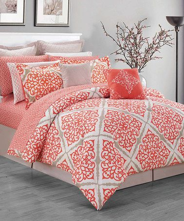 coral king size comforter Another great find on #zulily! Coral Celina Comforter Set  coral king size comforter