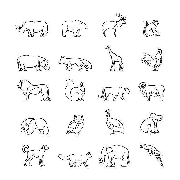 Animals Thin Line Vector Icons Pet Icons Hippo Tattoo Giraffe Tattoos Rhino Tattoo