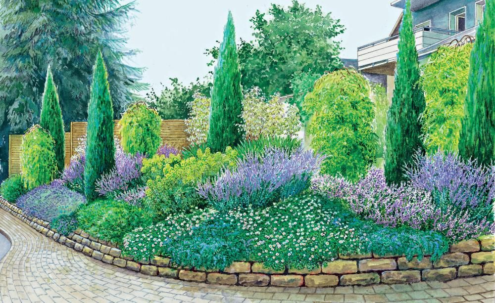 Zwei Ideen für einen Hanggarten Фиолетовый сад, Фиолетовый и Сад - reihenhausgarten vorher nachher
