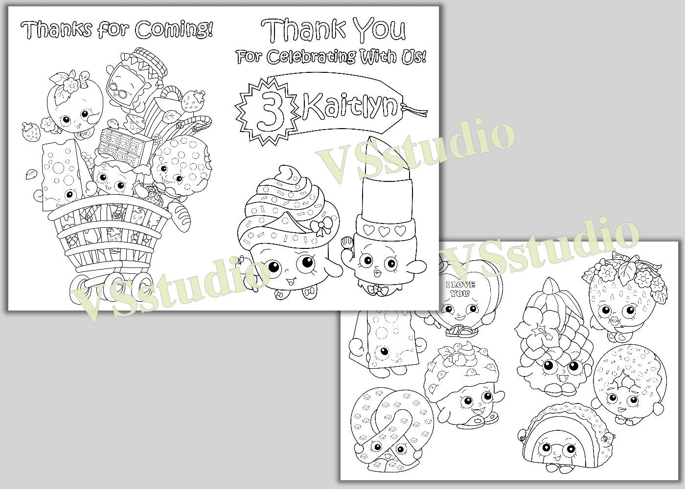 Shopkins Birthday Party Thank you coloring pages, activity
