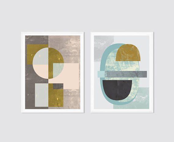 Print set set of 2 modern wall art prints mid century art