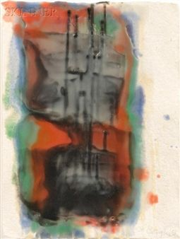 Two Abstract Works: Untitled [Orange Green and Blue] and Untitled [Black] By Lynda Benglis