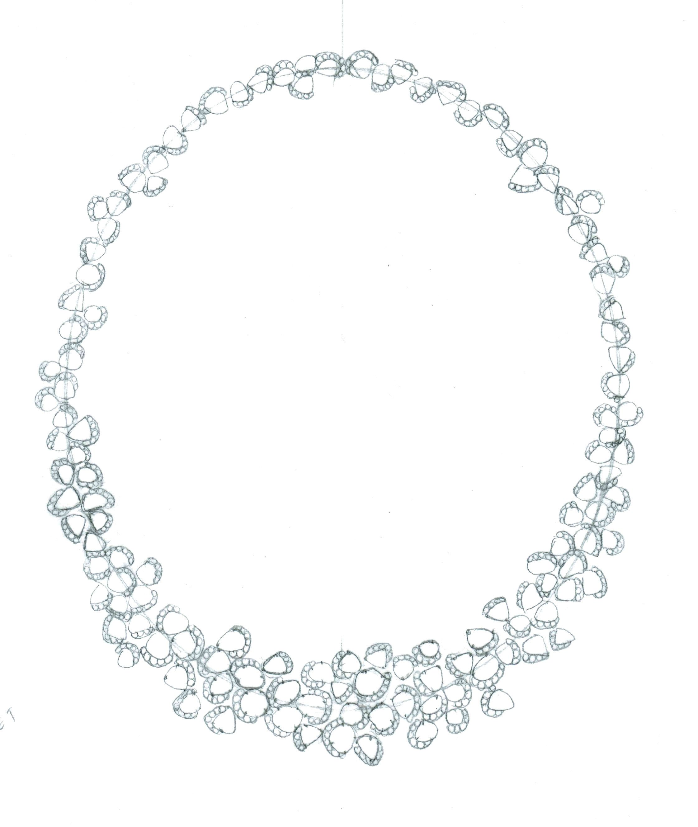 Champagne Bubbles wreath necklace drawing. #art #jewelry #