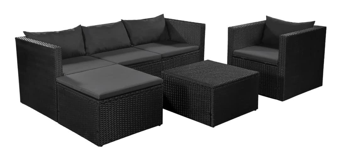 Salon de jardin Modica noir-gris - aluminium et Weather+ Textilène - 4  personnes