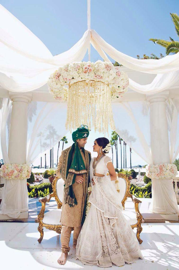 White lengha Indian wedding dress