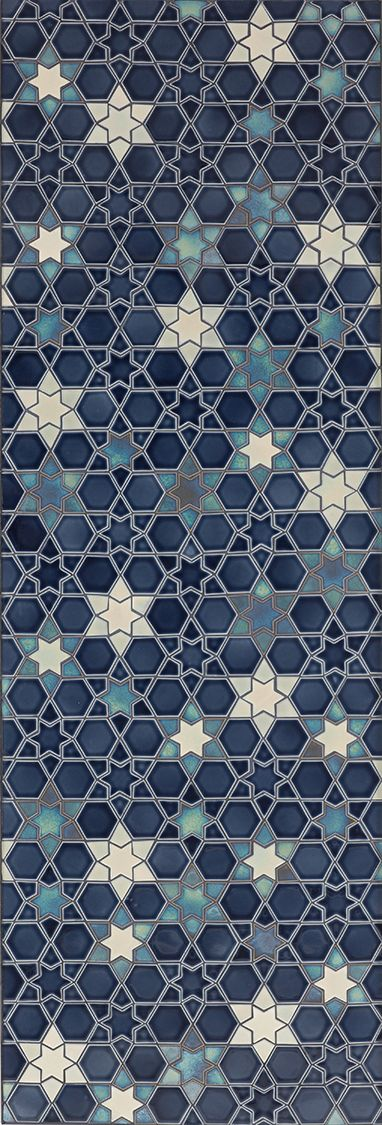 Deliciously glazed indigo with pearlescent sheen!  Pratt and Larson Arabesque stone and tile 2012