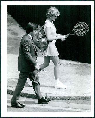1987 Original Photo PRINCESS DIANA OF WALES Tennis Court Practice ROYAL