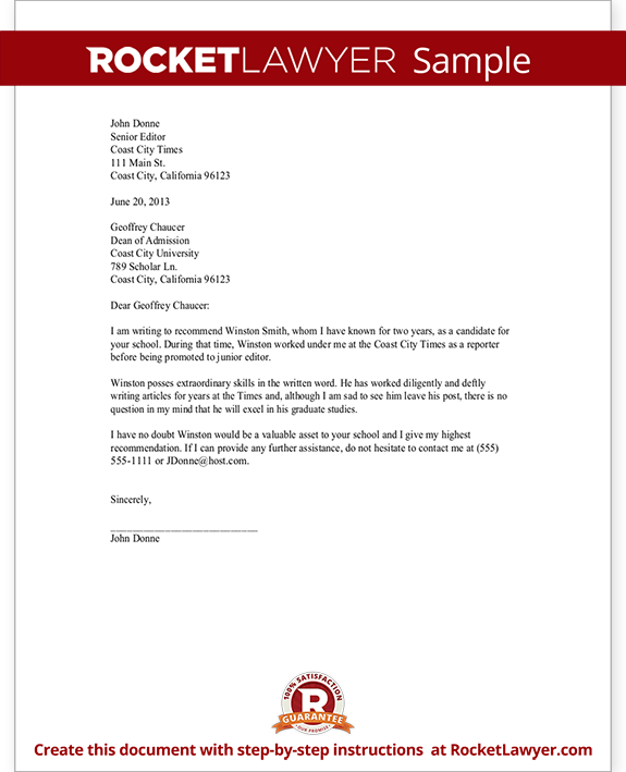 Recommendation Letter Template For Scholarship, Job, College (with Sample)