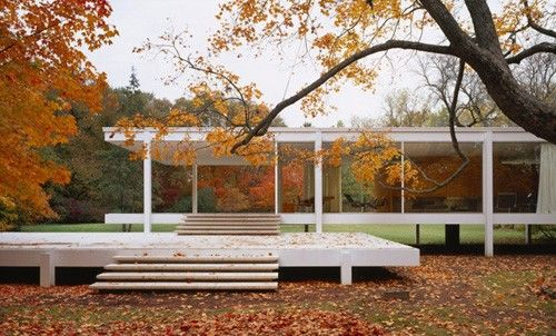 The Farnsworth House, built by Ludwig Mies van der Rohe in 1951 and located near Plano, Illinois, is one of the most famous examples of modernist domestic architecture and was considered unprecedented in its day. Learn more here: http://www.farnsworthhouse.org
