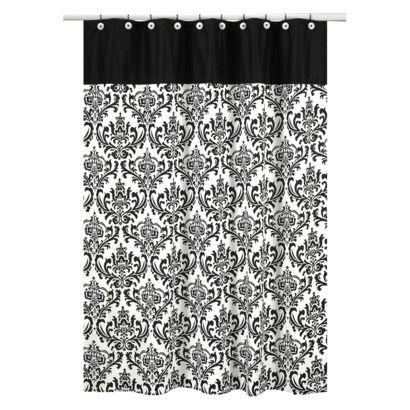 Sweet jojo designs isabella shower curtain black white for Sweet jojo designs bathroom